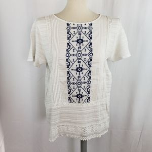 Lucky Brand white embroidered peasant blouse